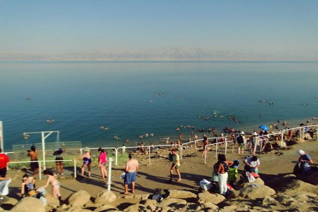 Totes Meer Israel Schweben im salzigen Meer En Gedi Beach