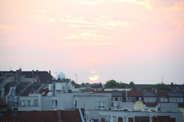 Sonnenuntergang Berlin Neukölln Klunckerkranich