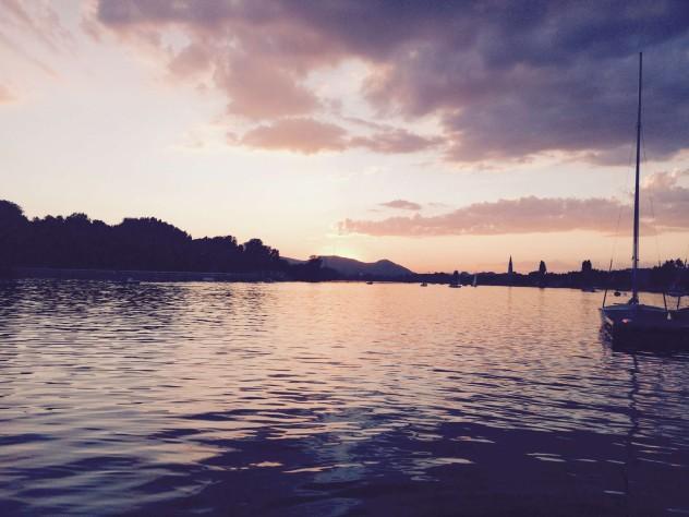 Sonnenuntergang Wasser Boot Alte Donau Wien