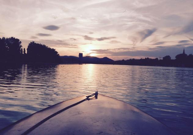 Sonnenuntergang Bootstour Alte Donau Wasser Wien