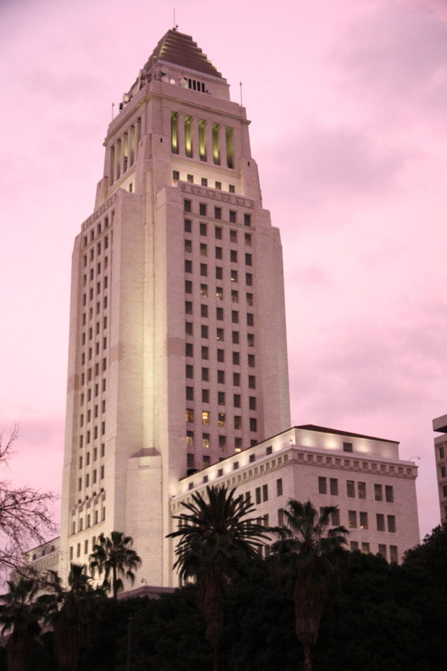 city hall sunset Downtown L.A.