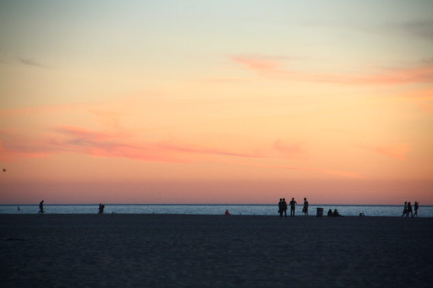 sunset people on venice beach